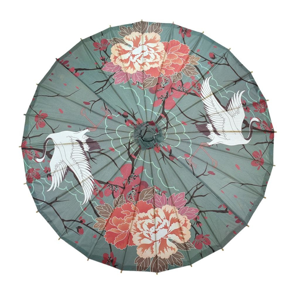 Asian Import Store Parasol Paper Crane and Cherry Blossom 32in
