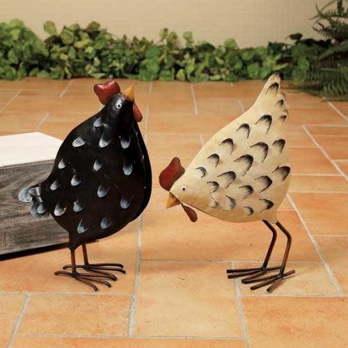 Gerson Everyday Decor - Chicken Metal Figurine 2 Asst