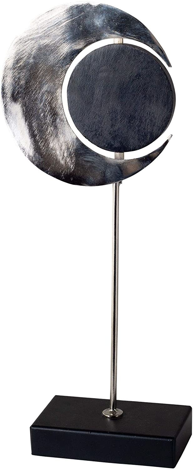 Home Essentials & Beyond wood and silver metal moon obje small