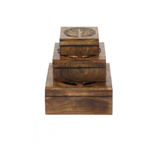 UMA Enterprises Inc. Box Wooden Tree Set Of 3