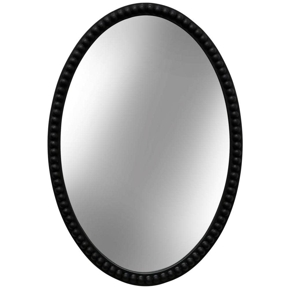 Stylecraft Mirror Oval Wooden Beaded Black 25in x 17in