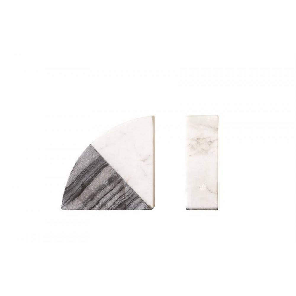 Bloomingville Bookends - Marble White and Black 2 Piece Set