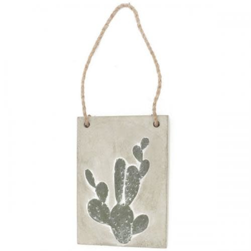 ADV Wall Art 5in X 7.25in Cactus Cement Wall Plaque