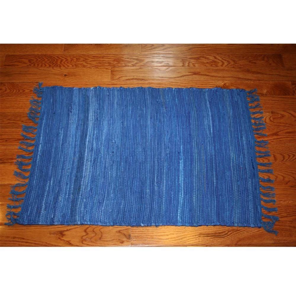 Homestead Rag Rug Cotton Navy 4'x6'