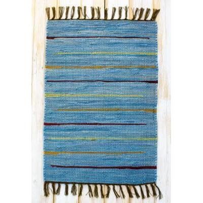 """CLM Style Canyon Stripe 28"""" X 84""""  Rug Runner Blue"""