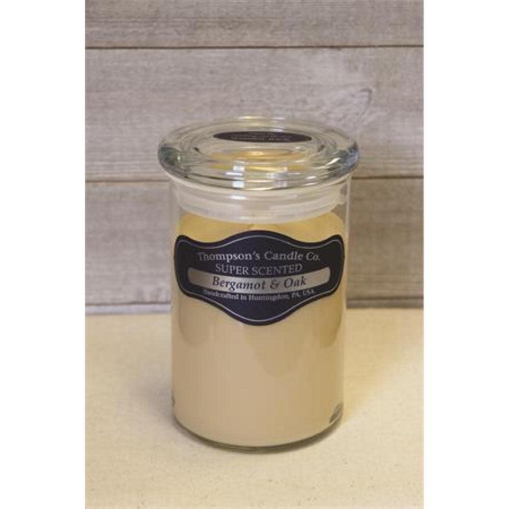 Thompsons Candle Co. Large Jar Candle with Glass Lid 20 oz - Bergamont & Oak