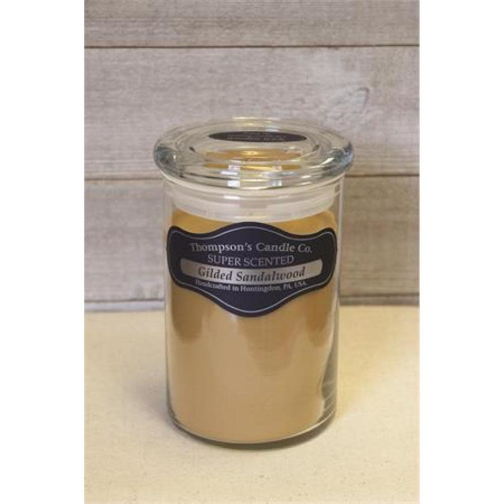 Thompsons Candle Co. Large Jar Candle with Glass Lid 20 oz - Gilded Sandalwood