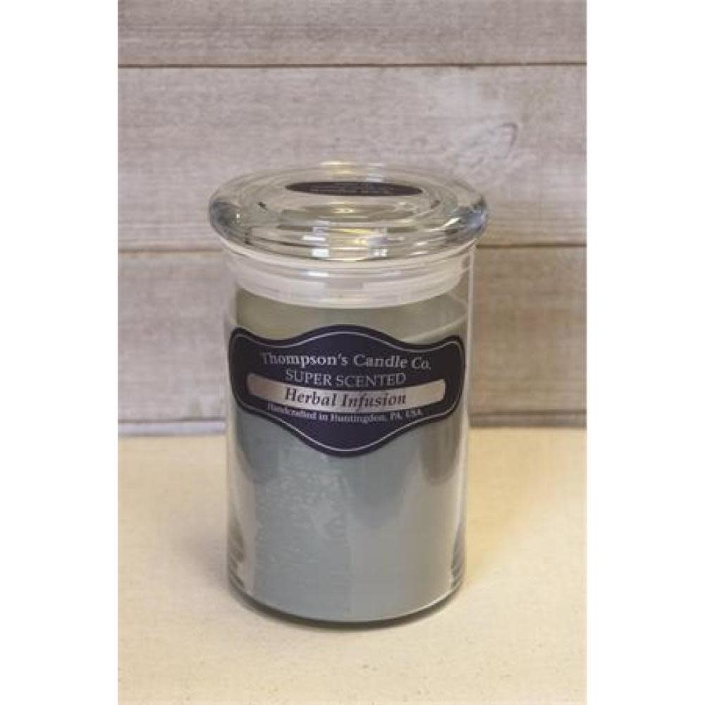 Thompsons Candle Co. Large Jar Candle with Glass Lid 20 oz - Herbal Infusion