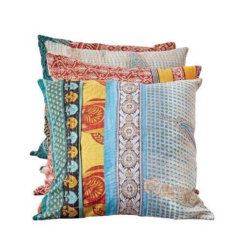 Creative Co-Op Pillow Kantha Quilt Vintage Fabric