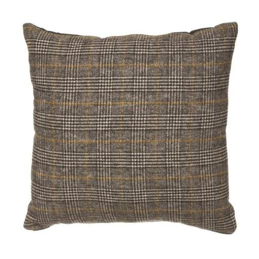 Creative Co-Op Pillow Wool Blend Plaid Grays and Gold