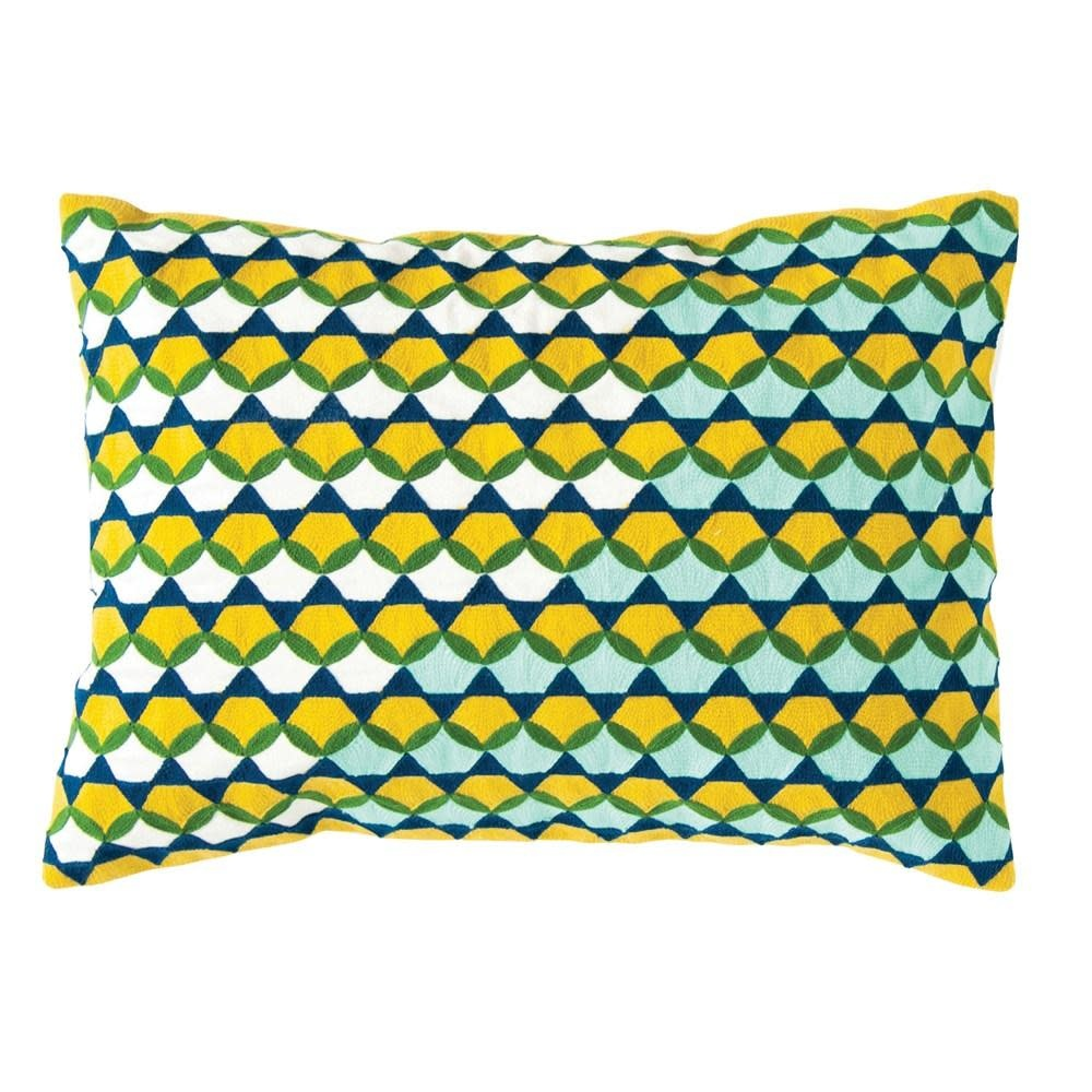 Creative Co-Op Lumbar Pillow - Large Embroidered Blue Yellow White and Green