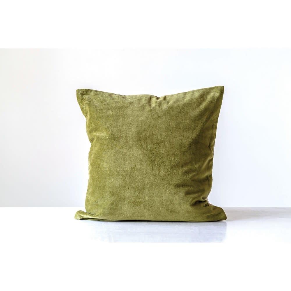 "Creative Co-Op Throw Pillow - Square Cotton Velvet 20"",  Green"