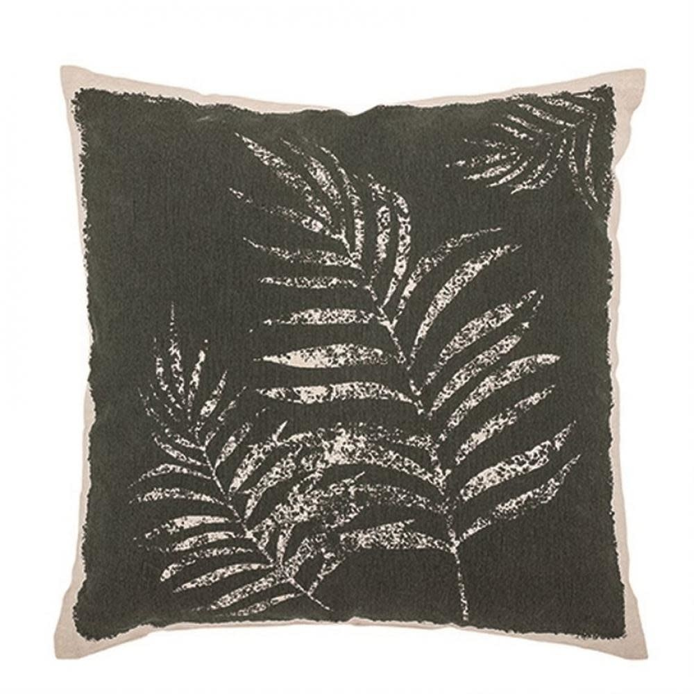Bloomingville Throw Pillow - Square Printed Cotton With Frond, Green