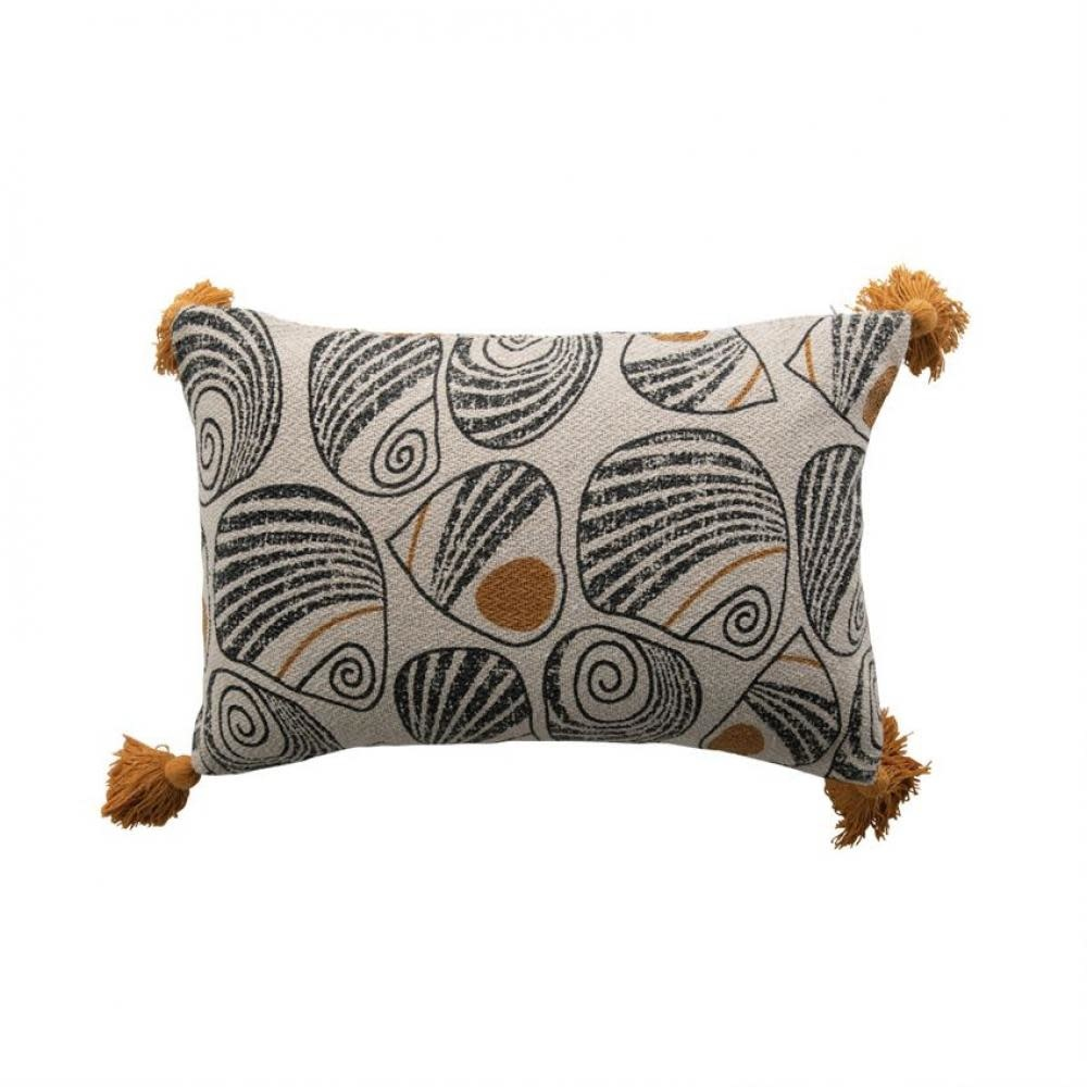 Bloomingville Lumbar Pillow - Black and Mustard with Tassels