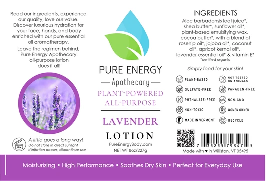 Pure Energy Apothecary Body Lotion - 8oz Lavender