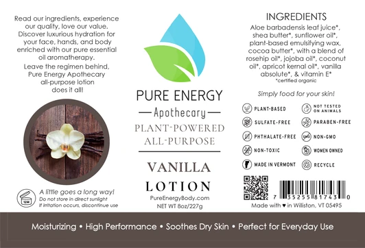 Pure Energy Apothecary Body Lotion - 8oz Vanilla