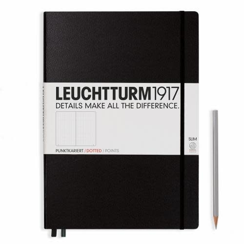 Leuchtturm 1917 Notebook Master Slim (A4+) Hardcover, 121 numbered pages, dotted, black