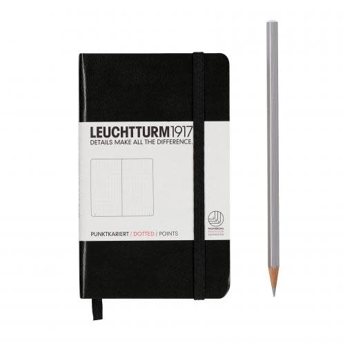 Leuchtturm 1917 Notebook Pocket (A6) Hardcover, 185 numbered pages, dotted,black