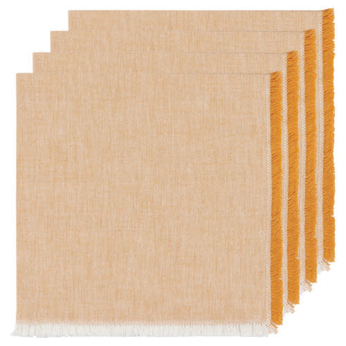 Now Designs Cloth Napkin - Chambray Heirloom - Ochre, Set of 4