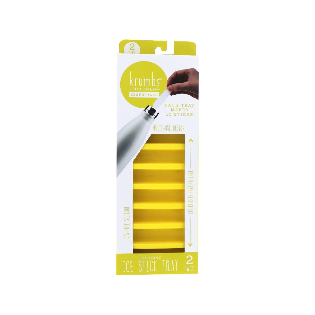 DM Merchandising Krumbs Kitchen Essentials Silicone Ice Stick Tray- Yellow 2-Pack