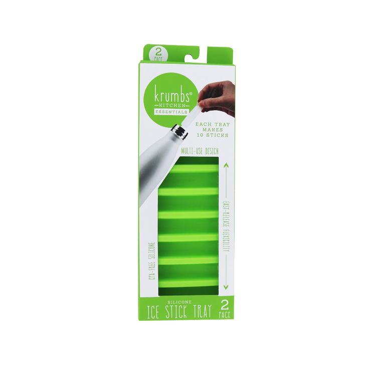 DM Merchandising Krumbs Kitchen Essentials Silicone Ice Stick Tray- Green 2-Pack