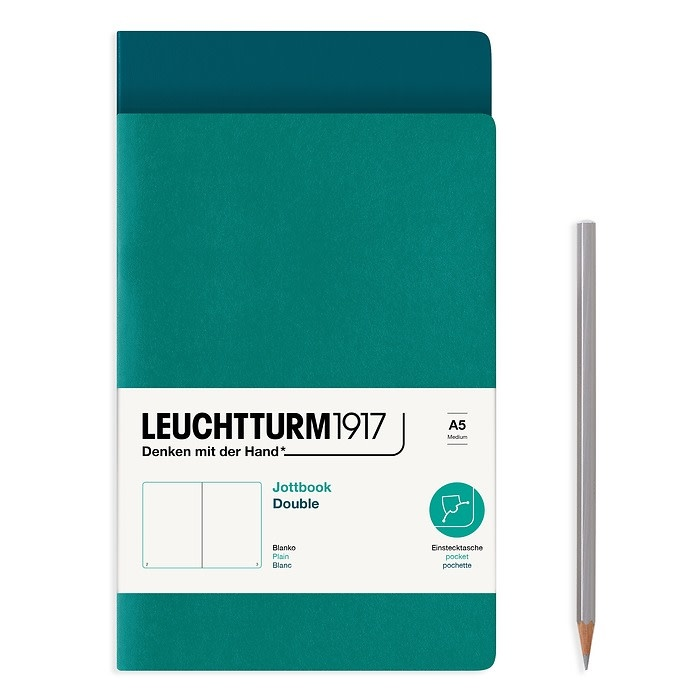 Leuchtturm 1917 Jottbook (A5) 59 numbered pages plain Pacific Green and Emerald Pack of 2