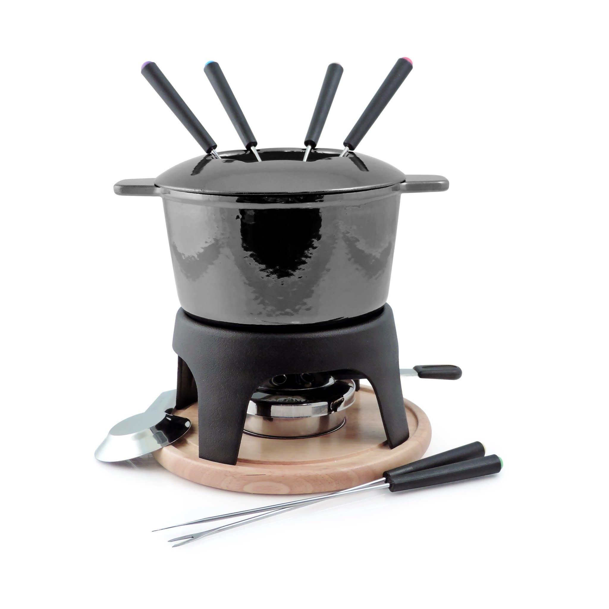 Swissmar Fondue Pot - Cast Iron Sierra 11pc Set, Metallic Black