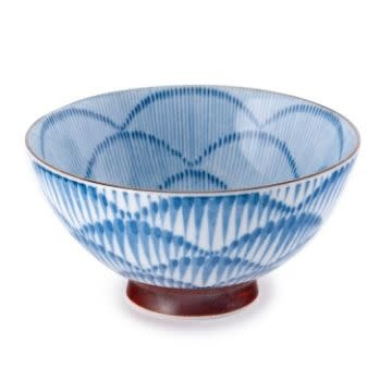 "Fuji Merchandise Corp Rice Bowl Blue Line Pattern 4.5"""