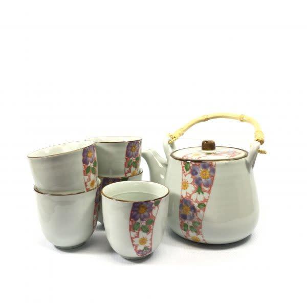 Baifu International Trading Tea Set With Flowers 6pc