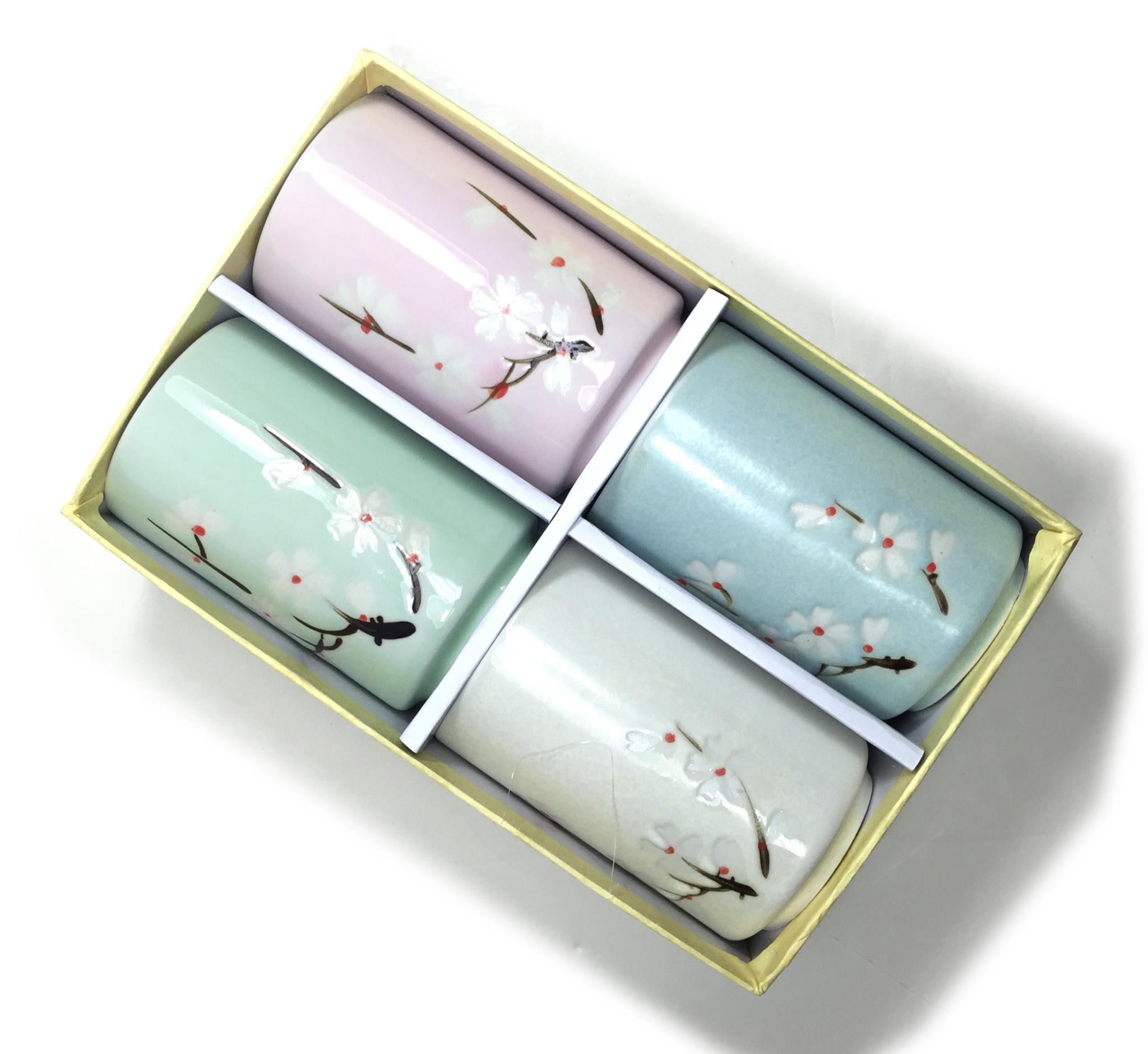 Baifu International Trading Tea Cup Set of Four Blossoms