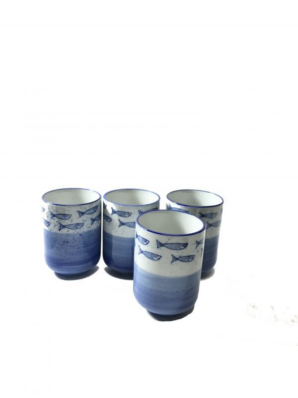 Baifu International Trading Tea Cup Set of Four Fish