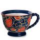 Fuji Merchandise Corp Mug Blue and Red Flower Vine 14oz
