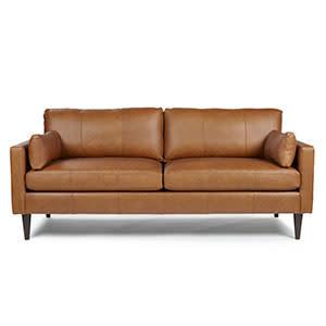 Best Home Furnishings Trafton Sofa Leather Polyurethane Match Rust Espresso Leg