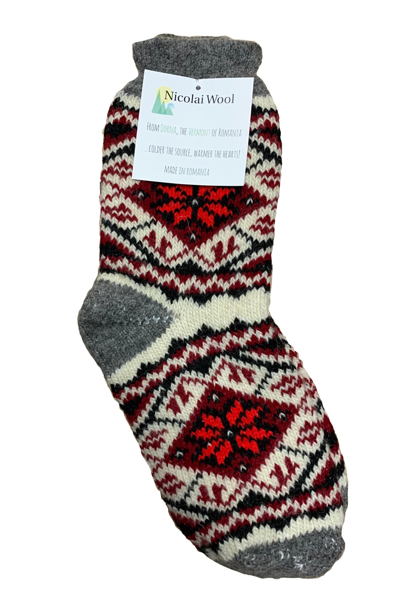 Nicolai Wool Romanian Socks Red and Grey