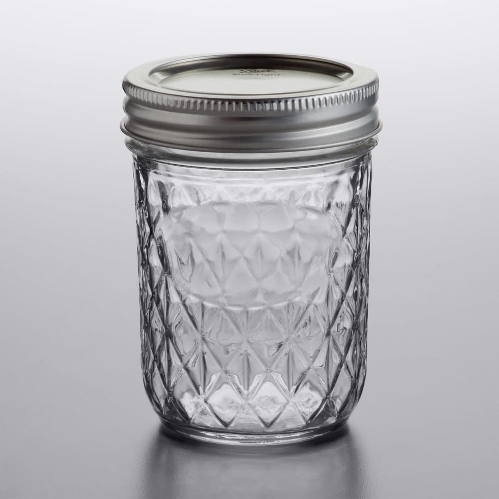 Ball Ball Glass Canning Jar 8 oz. Half-Pint Quilted Crystal Regular Mouth