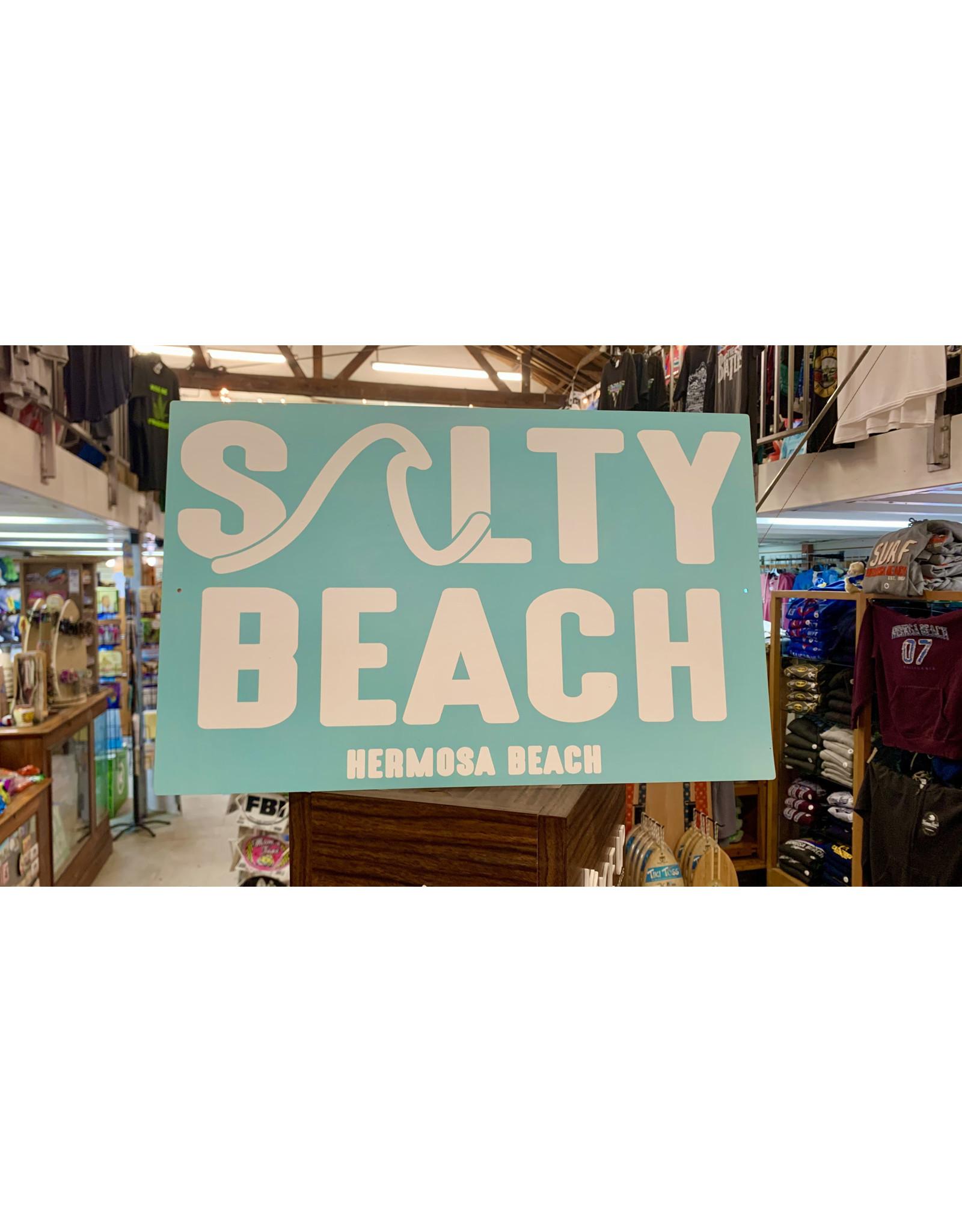 "Blue 84 HB SALTY BEACH METAL SIGN 11.5'X18"""