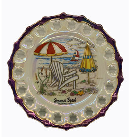 HB DECORATIVE HANGING CERAMIC PLATE BEACH DAY 7.5""