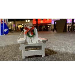 California Seashell company White Wood Beach Chair Ornament