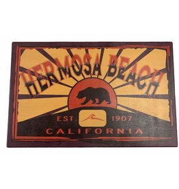 "Lakeshirts INC. HB CALI BEAR/WAVE WOOD SIGN 11.5""X18"""