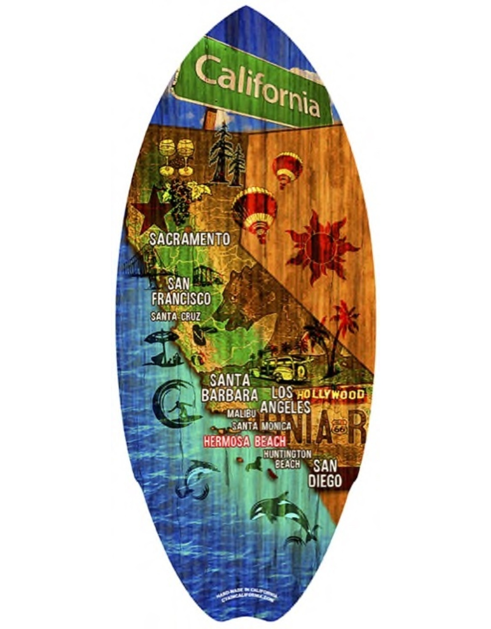 C-YA HERMOSA BEACH 2CALI MAP MINI WOOD SURFBOARD