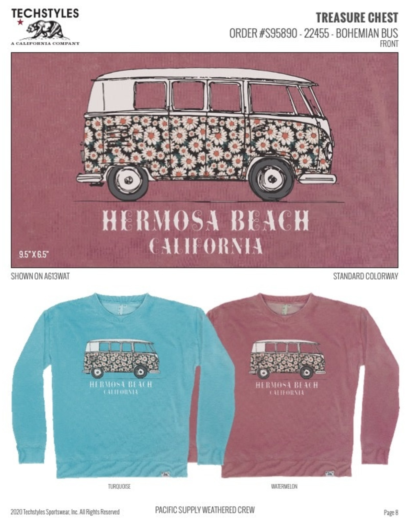 Techstyles A613TRQ SWT TS HB BOHEMIAN BUS CREW TURQUOISE