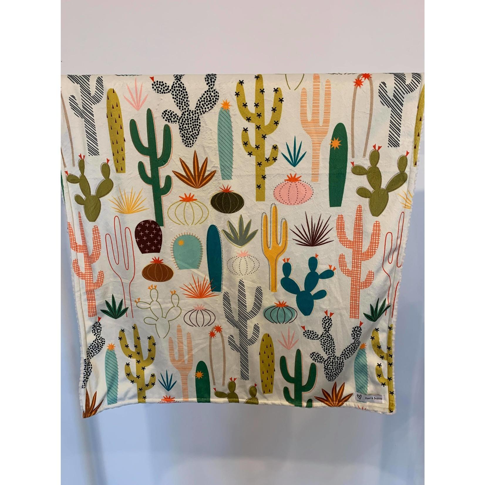 Pixel & Bobine || Doudou minky 25x 35 Cactus d'été