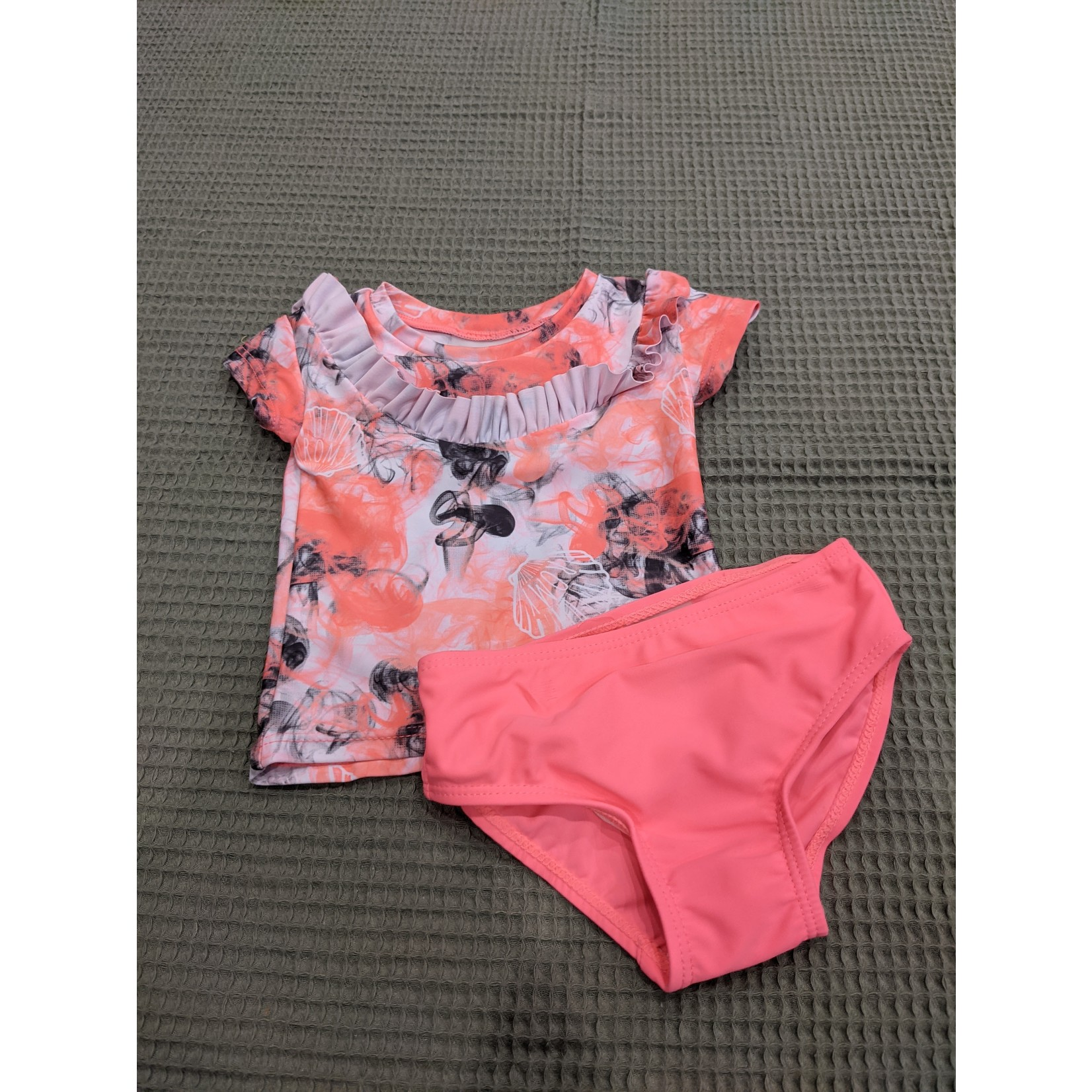 #91 Maillot 2 pièces rose fluo