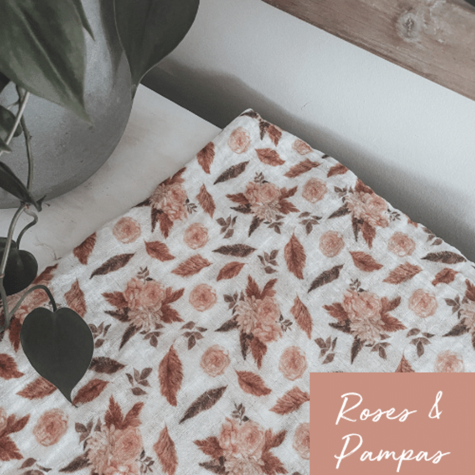 Mini Totem    Mousseline Bambou/Coton Roses Pampas