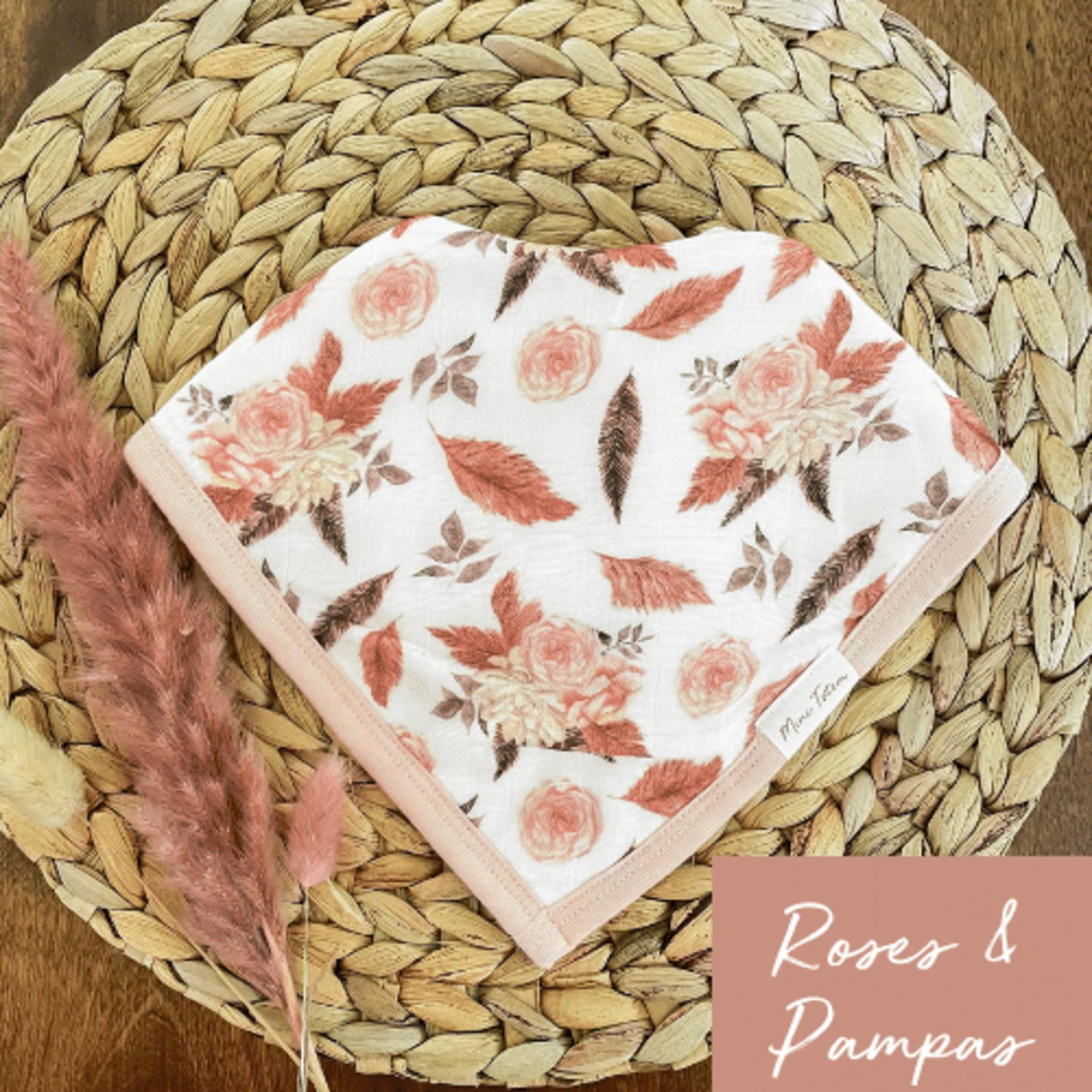 Mini Totem || Bavoir bambou/coton  Roses /pampas