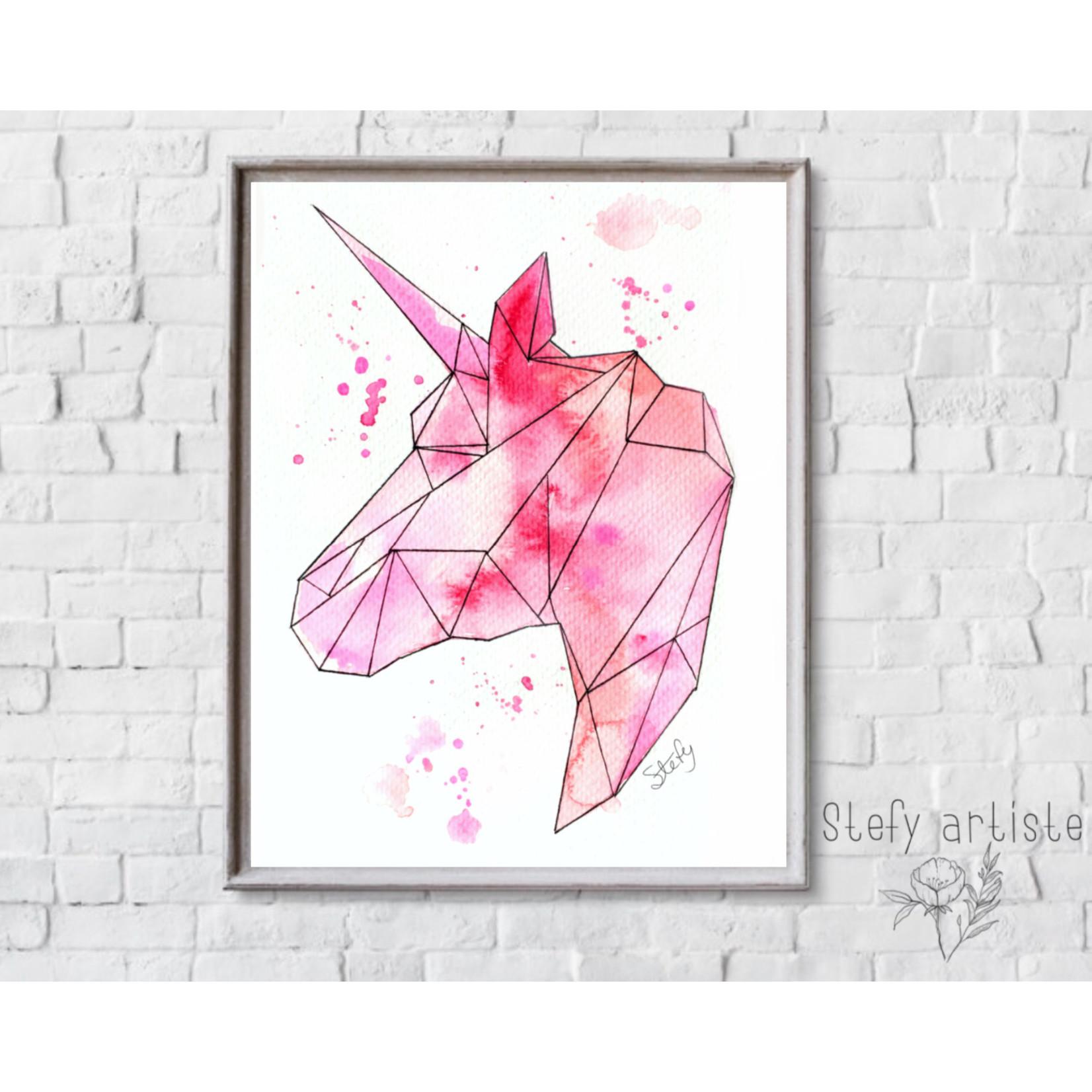 Stefy Artist || Illustration licorne rose