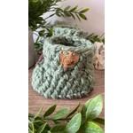 Création May    Pantoufles en tricot  Sauge 12-18 m