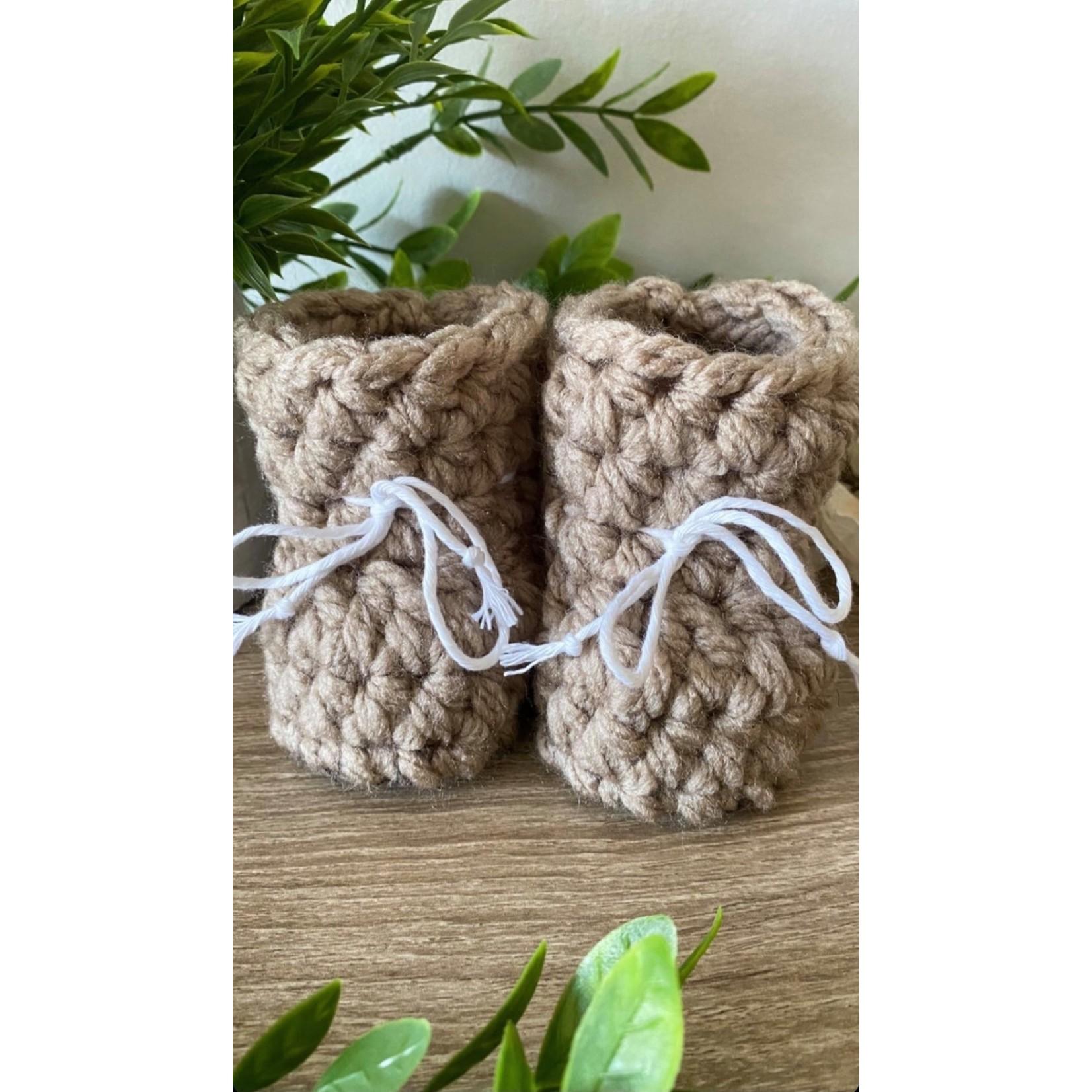 Création May    Pantoufles en tricot Taupe 12-18 m