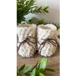 Création May    Pantoufles en tricot Ivoire 12-18 m