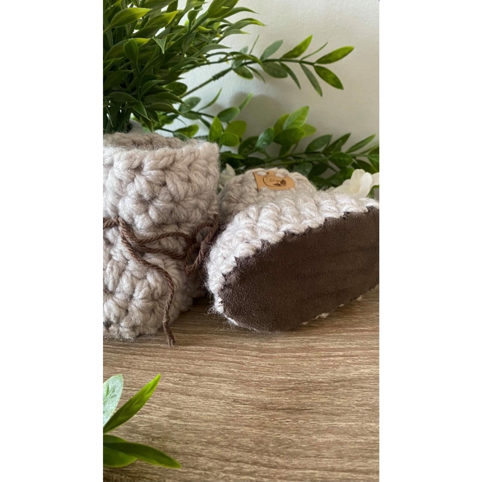 Création May    Pantoufles en tricot Gris pâle 0-6 m